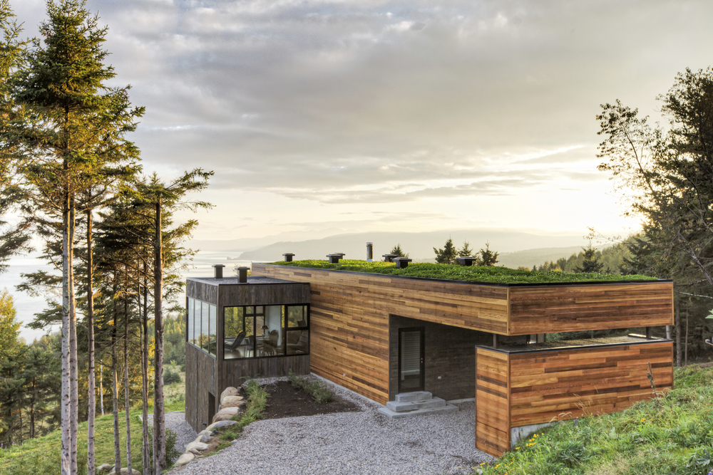 architecture nature mu cap terrasses les connect contemporary aigle homes modern hillside quebec charlevoix outdoor series archdaily wood bunker region